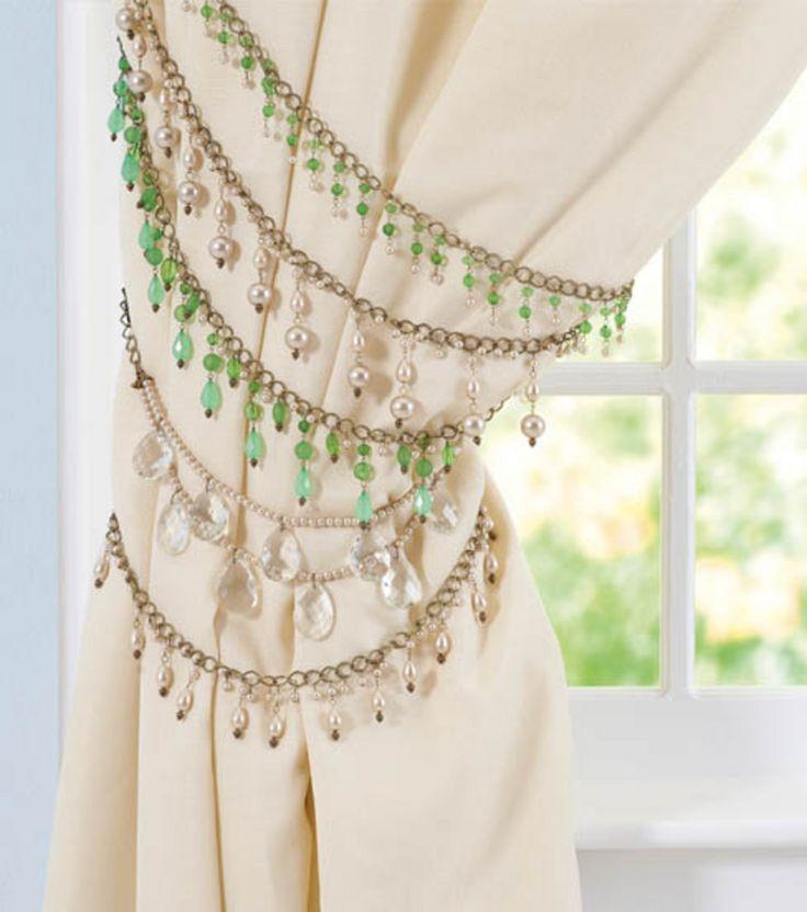 DIY Jeweled Curtain Tiebacks.  (Bronze chain w/ blue/teal/black/white beads)