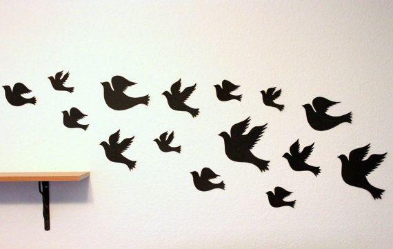 Birds Wall Art 3d bird wall art - black wall art - paper birds - bird wall decor