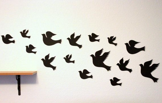 3d Bird wall Art - Black wall art - Paper birds - Bird wall decor - Bird  wall Hanging - Living room Decor - Bird decor - Bird nursery