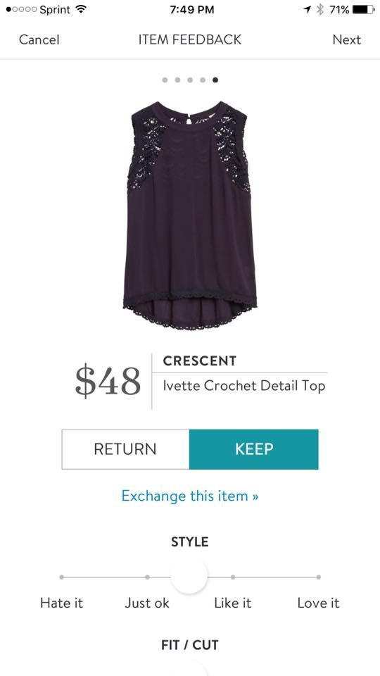 Crescent Ivette Crochet Detail Top. I love Stitch Fix! A personalized styling service and it's amazing!! Simply fill out a style profile with sizing and preferences. Then your very own stylist selects 5 pieces to send to you to try out at home. Keep what you love and return what you don't. Only a $20 fee which is also applied to anything you keep. Plus, if you keep all 5 pieces you get 25% off! Free shipping both ways. Schedule your first fix using the link below! #stitchfix @stitchfix. Stitchfi