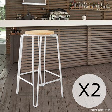 Set of 2 High Modern Metal Bar Stools-White
