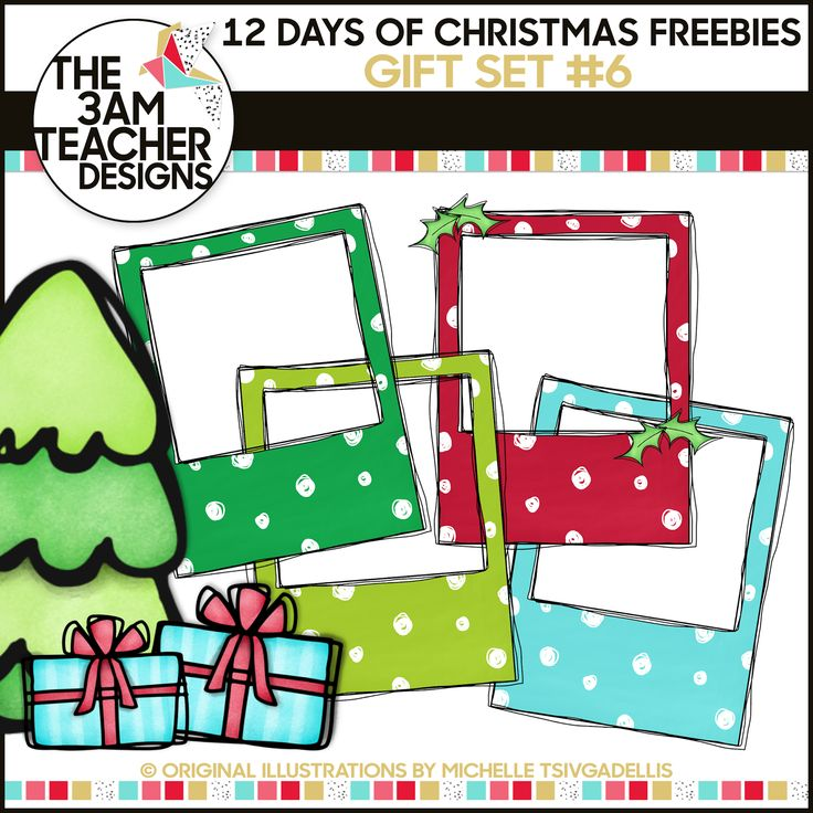 12 Days of Christmas Freebies: Free Holiday Clipart Gift Day #6 from The 3AM Teacher!! Happy Holidays!