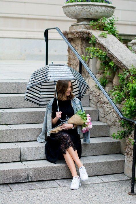 9b42f0a50a H&M-black-lace-midi-dress-merona-denim-jacket-adidas-neo-clean -sneakers-pink-tulips-striped-bubble-umbrella-chicago-art-institute