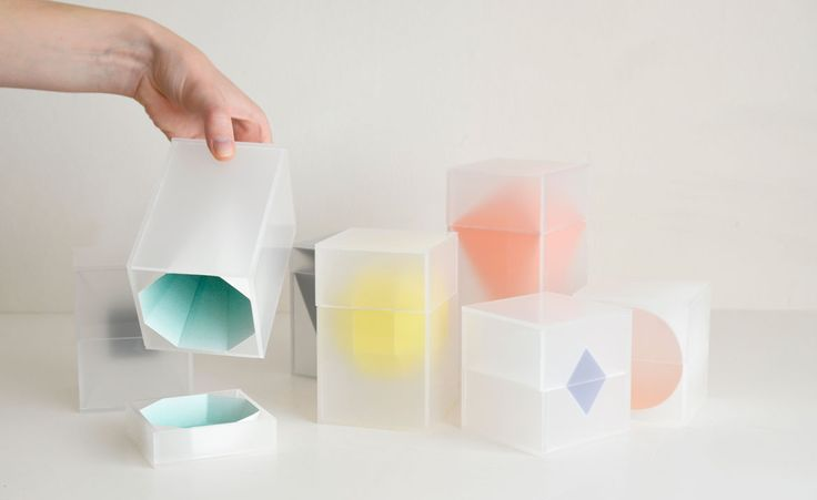 From a designer interested in packaging and graphics, each box in this series by Tove Jeppsson Bohlin of desk accessories features a translucent white plastic shell, and is identified by a colourful geometric shape visible within