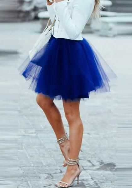 21dae3ae2 Royal Blue Patchwork Grenadine Pleated Plus Size Fluffy Puffy Tulle Cute  Skirt
