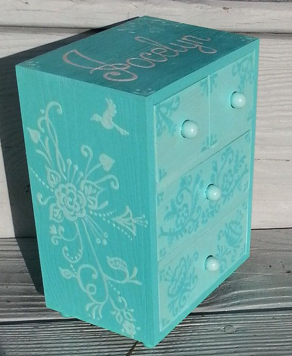 personalized floral jewelry box turquiose por Thegiftsfromladybug