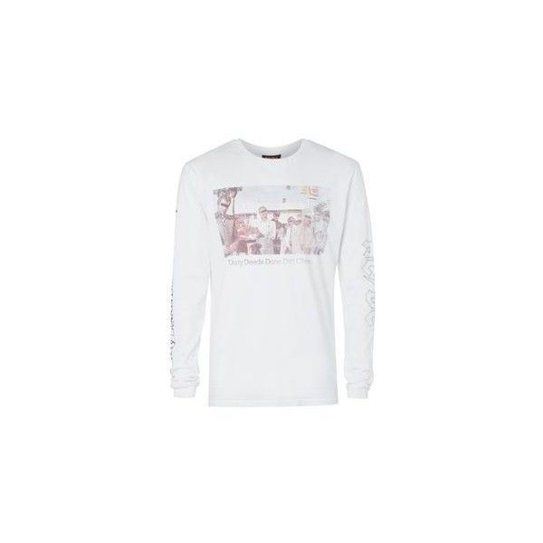 White AC/DC Print Oversized Long Sleeve T-Shirt ❤ liked on Polyvore featuring tops, t-shirts, long sleeve tops, long sleeve oversized tee, print t shirts, pattern t shirt and long sleeve white t shirt