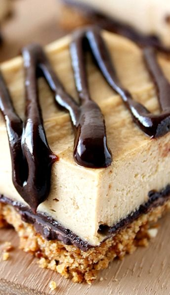 Chocolate Peanut Butter Pretzel Cheesecake Bars ~ They have a salty pretzel crust with chocolate peanut butter ganache drizzled over the peanut butter cheesecake! (Snyder's gf pretzels)