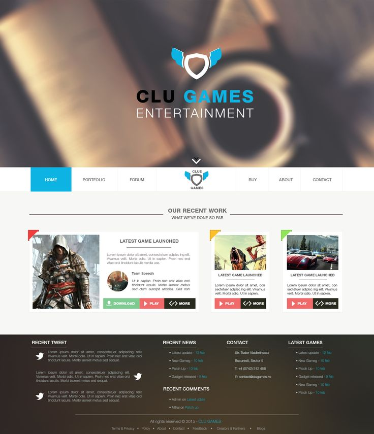 Mobile Games Inc. Group Landing Page Design