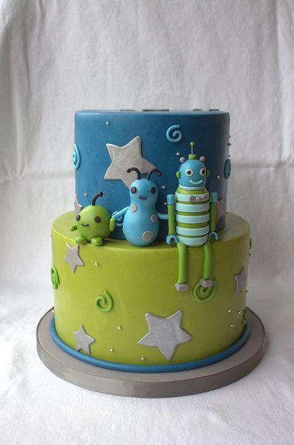 Alien/Robot Baby Shower Cake