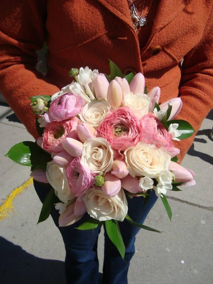 Pink Bouquet from Poppies  #ranunculus #tulips #roses #stephanotis #spreadjoy www.twitter.com/poppiestoronto www.facebook.com/poppiestoronto