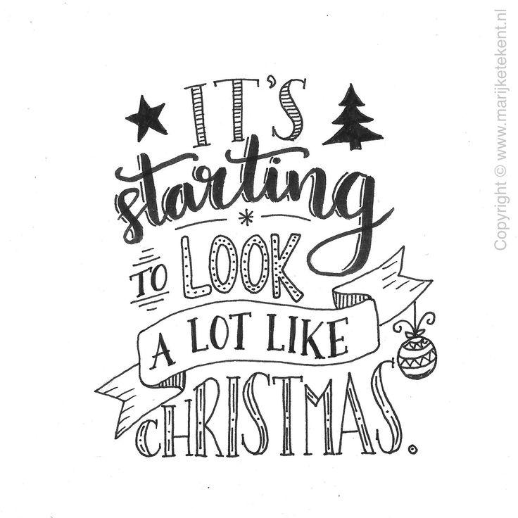 Handlettering kaart Kerst