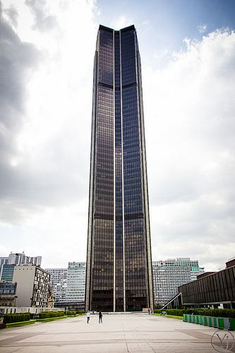 This is the Montparnasse tower in Paris, the only skyscraper in Paris. It has the best views of the city and of the eiffel tower.