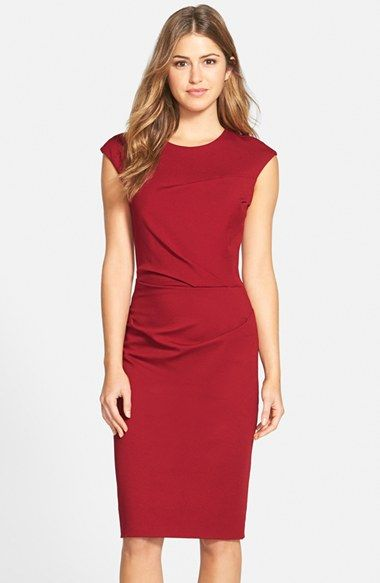 Betsey Johnson Ruched Ponte Sheath Dress available at #Nordstrom