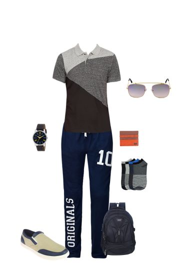 'limeroad' by me on Limeroad featuring Grey Track Pants, Black T Shirts, Beige Shoes, Brown Wallets, Blue Sunglasses, Multi Socks, Black Analog Watches with Black Backpacks