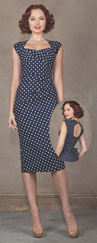 Sexy Stop Staring! Love Dress in Navy with White Polka Dots w/ Bow