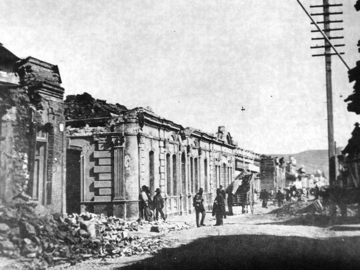 Centro de Talca en el suelo tras el terremoto de 1928.