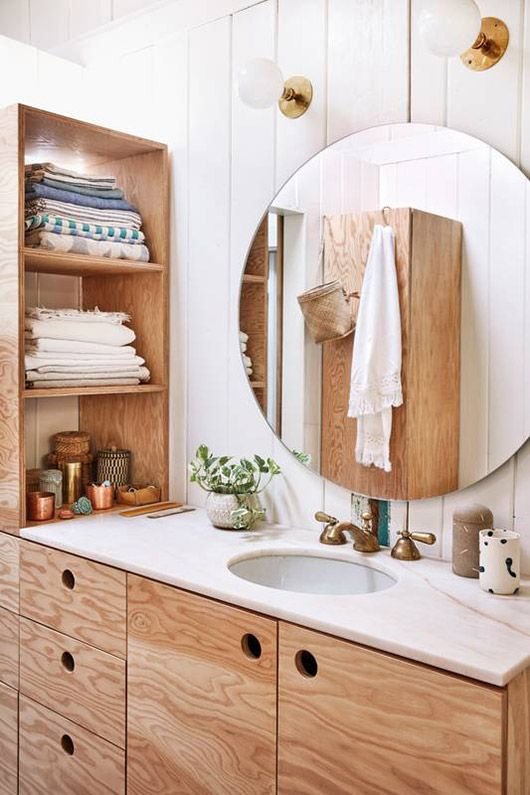 shiplap walls and plywood cabinets in small bathroom. / sfgirlbybay