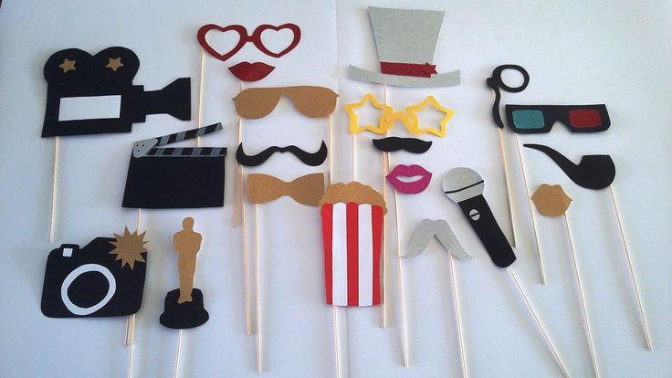 Accessoires photobooth x20 thème cinéma : Autres papeterie par stefebricole