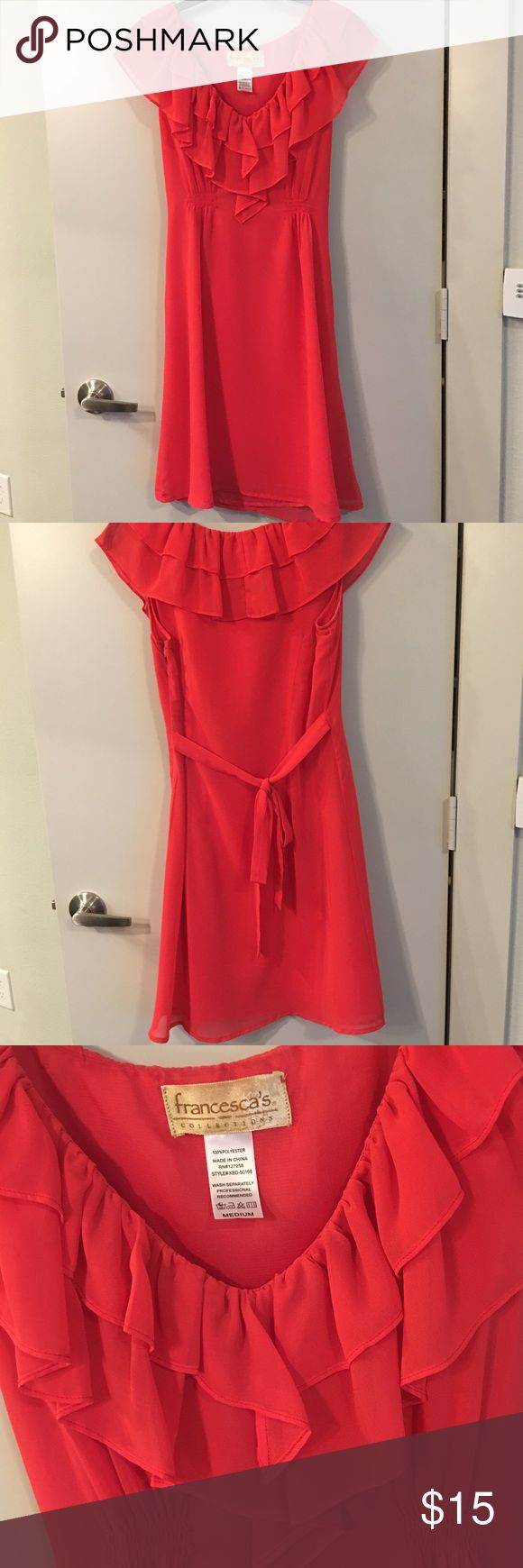 Red Dress with Ruffled Detail Beautiful red dress with ruffled Detail at the top! This is a great dress to dress up for work or down for the weekend! Zips on the side. Francesca's Collections Dresses Midi