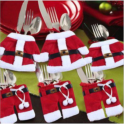 6 Pcs Santa Claus Christmas Cutlery Holder Decor Fork Utensil AU Local  Postage