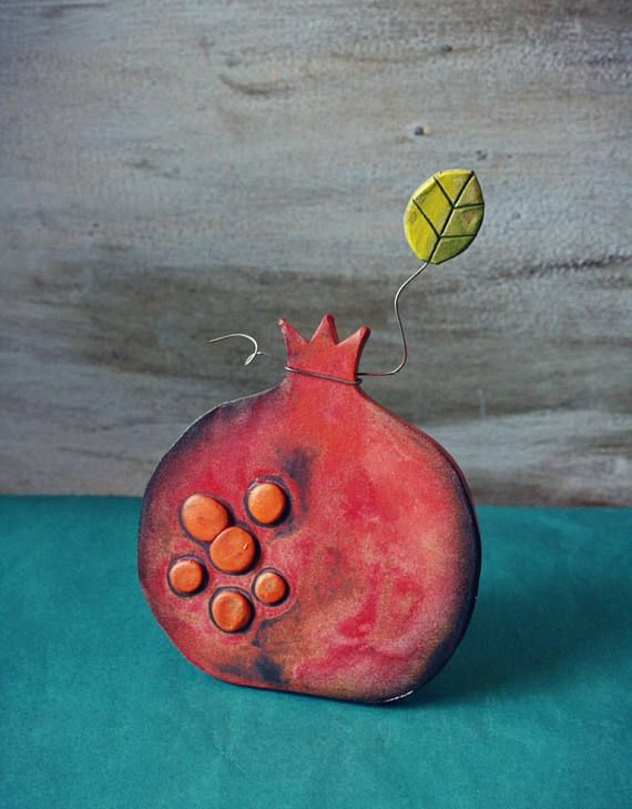 Handmade Ceramic Pomegranate Charm Pottery Pomegranate