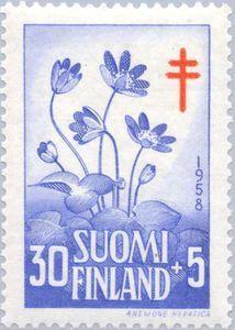 ◇Finland  1958    Liverleaf (Hepatica nobilis)