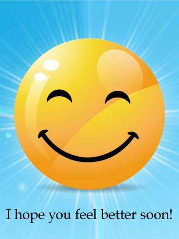 """Big Smiley Face Get Well Card: Laughter may be the best medicine, but smiles can help you feel better, too! Use this Get Well card to lift the spirits of someone you know who is sick. The large, bright yellow smiley face and blue background will bring a smile to their face and happiness to their heart. Use this card to send your love and """"Get well!"""" wishes today!"""