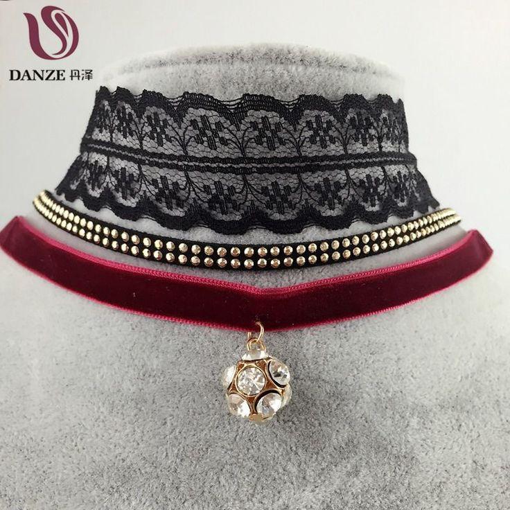 3 Pcs/set Fashion Chockers Lace Crochet Velvet Choker Necklaces For Women Vintage Crystal Ball Moon Pendant Necklace Collares