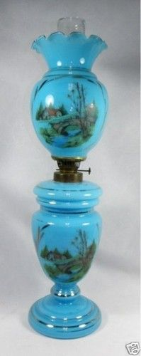 Antique Blue Bristol Glass Tall Banquet Parlor Oil Lamp | eBay