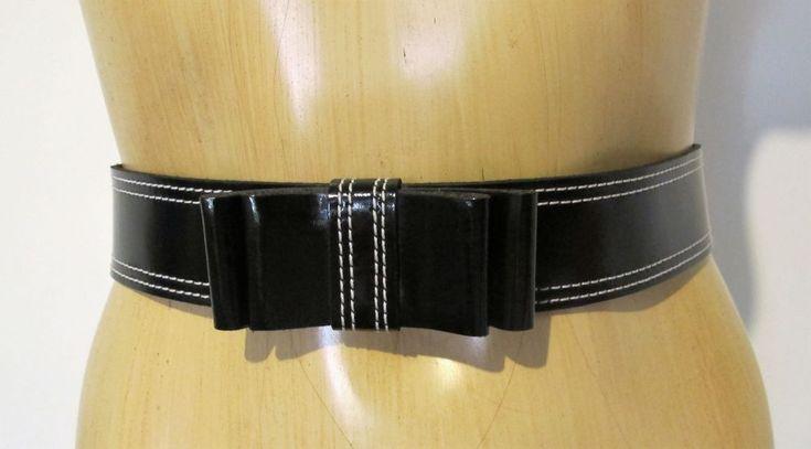 BELT Black Genuine LEATHER Bow White stitching Sz S/M Waist Cute Retro Vintage