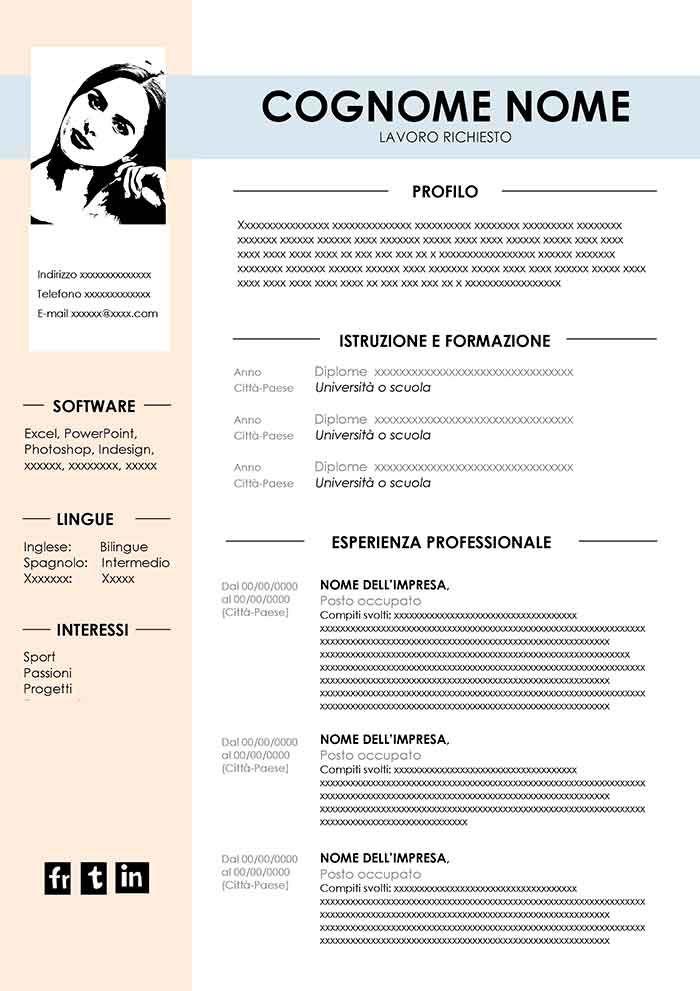 Curriculum Vitae Semplice Da Compilare In Word Con Immagini
