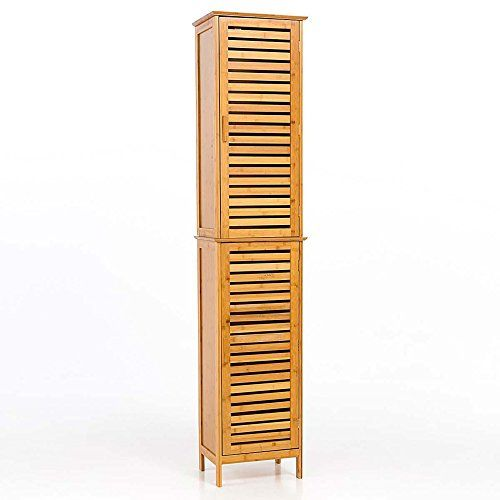 Tall Bathroom Cupboard Bamboo Natural