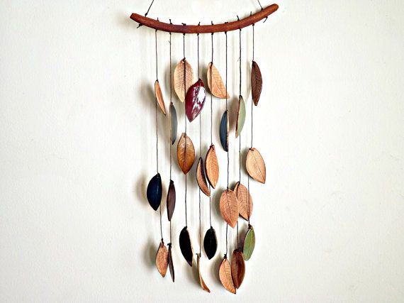 Stoneware Ceramic Leaf Chimes Mobile Made to by StudioByTheForest, $45.00