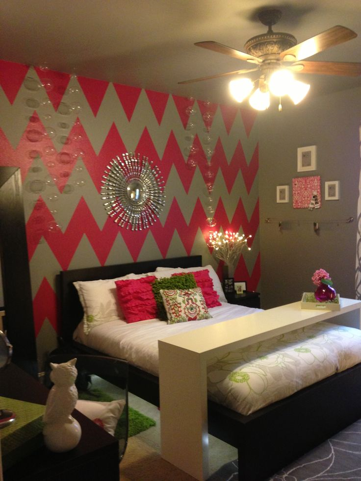 chevron wall paint for my girls pinterest rollers ikea bed and love the. Black Bedroom Furniture Sets. Home Design Ideas