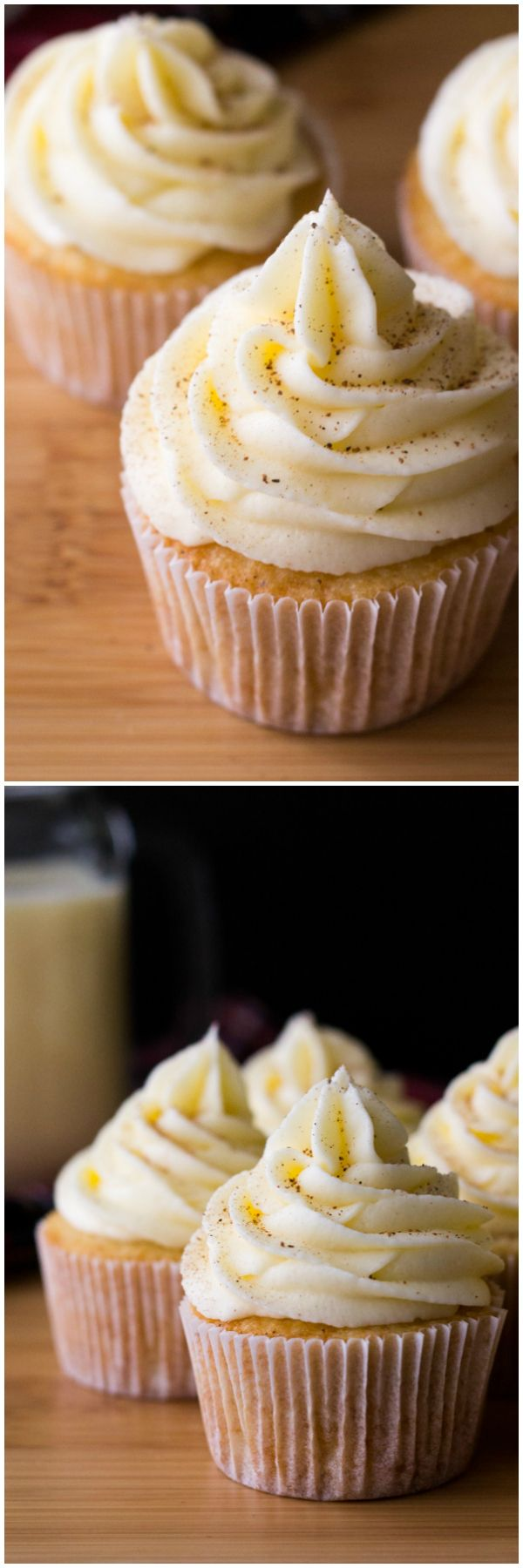 Light & fluffy Eggnog Cupcakes piled high with Eggnog Buttercream. Perfect for a holiday party, or present to yourself!