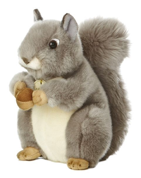 "This beautiful and realistic stuffed 10"" Gray Squirrel makes a perfect gift for any woodland lover! Fine quality, exceptional detail and soft to the touch, Aurora's Miyoni line captures the beauty of"