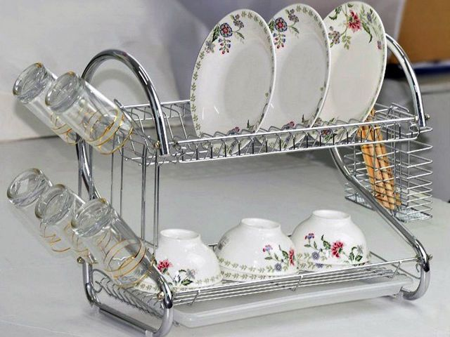 Chrome 2 Tiers Dish Drying Rack Drainer Dryer Tray Kitchen RV Plate Cup Storage in Home & Garden, Kitchen, Dining & Bar, Kitchen Storage & Organization | eBay