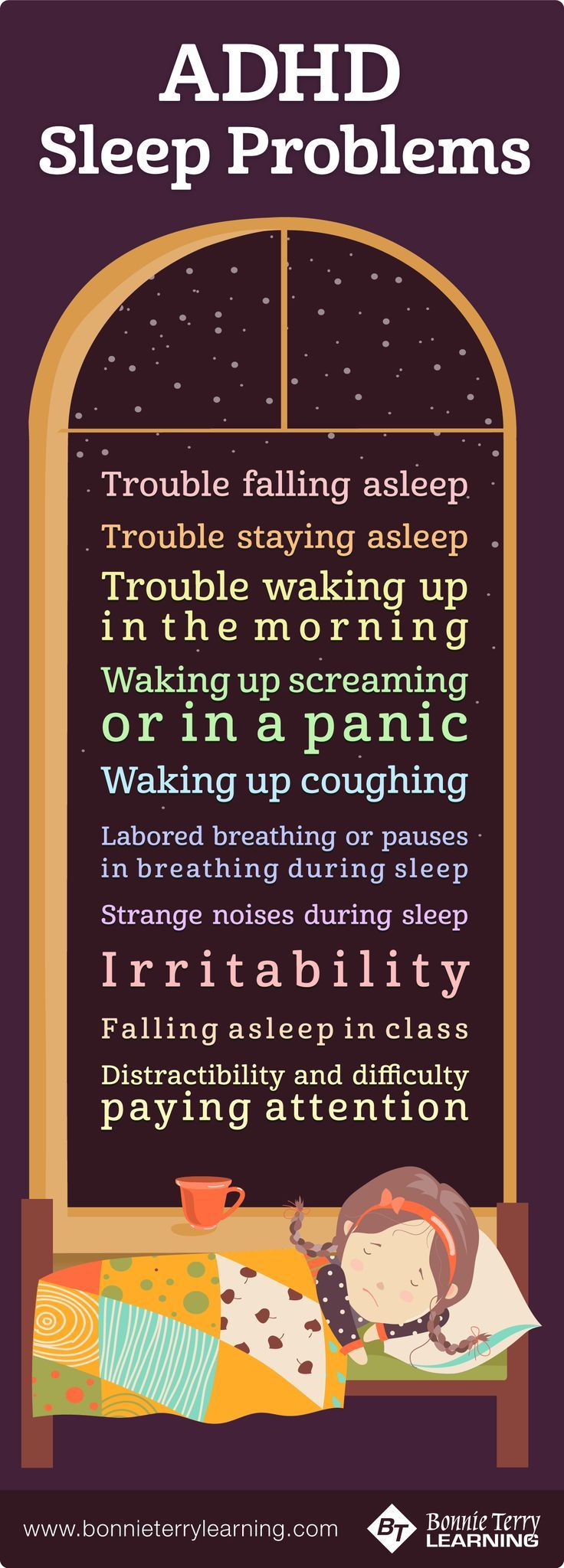 Sleeping tips and bedtime ritual tricks to help everyone at home get a good night's rest.  https://www.bonnieterrylearning.com/blog/adhd-sleep-problems-learning/
