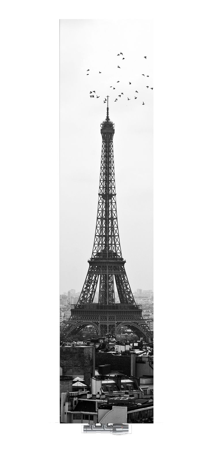 Grzejnik szklany Nova Glass od Radox Radiators. Motyw: Paris