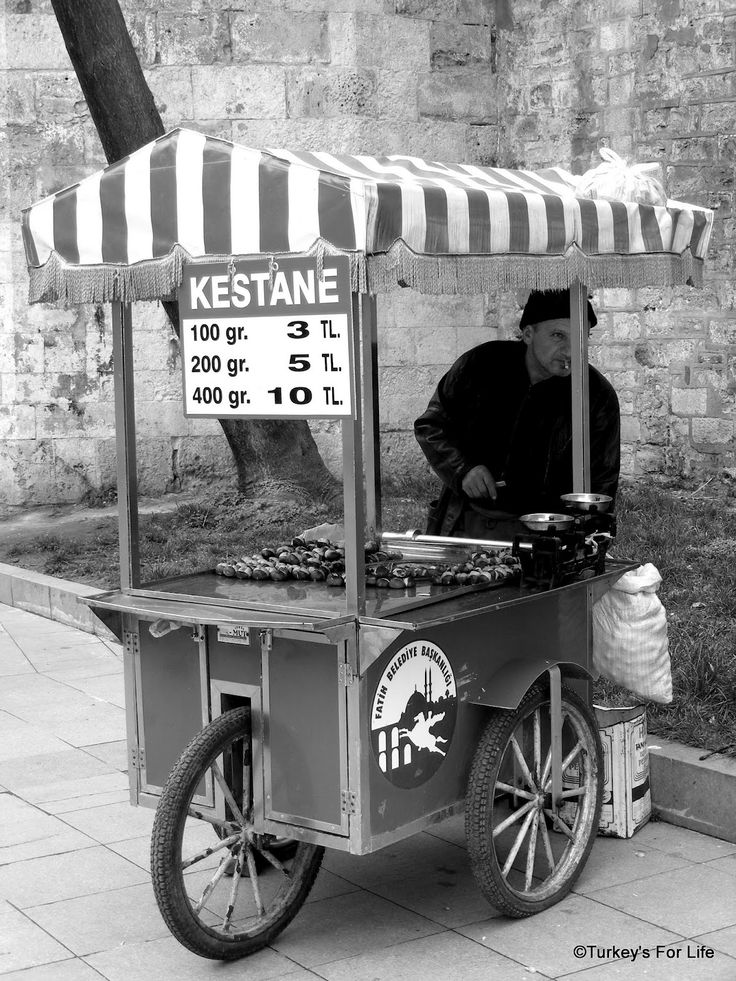 Chestnuts For Sale, Istanbul. http://www.turkeysforlife.com/2012/07/istanbul-street-food-black-white-series.html