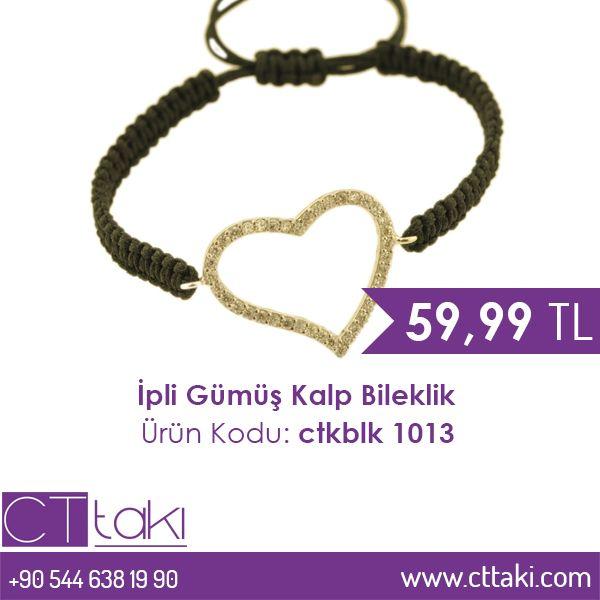 İpli Gümüş Kalp Bileklik. 59,99 TL fiyatı ile CT Takı'da. #ip #gümüş #kalp #bileklik #indirim #ucuz #fiyat #kadın #women #moda #takı #tasarım #takıtasarım #trend #trends #aksesuar #cttakı
