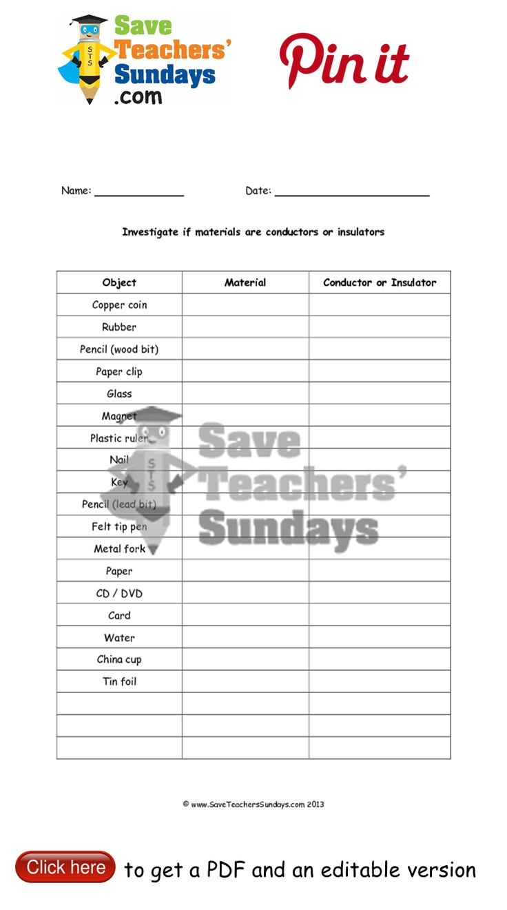 Conductors and insulators table to complete. Go to http://www.saveteacherssundays.com/science/year-4/370/lesson-2b-conductors-and-insulators/ to download this Conductors and insulators table to complete. #SaveTeachersSundaysUK