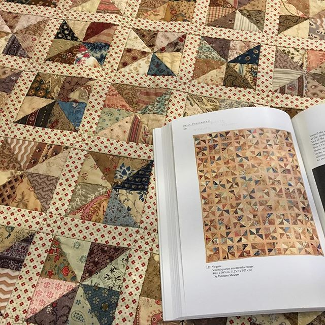 """My sewing group's 2015 challenge--I chose to try and recreate this antique pinwheel quilt in Sandi Fox's book, """"Small Endearments."""""""