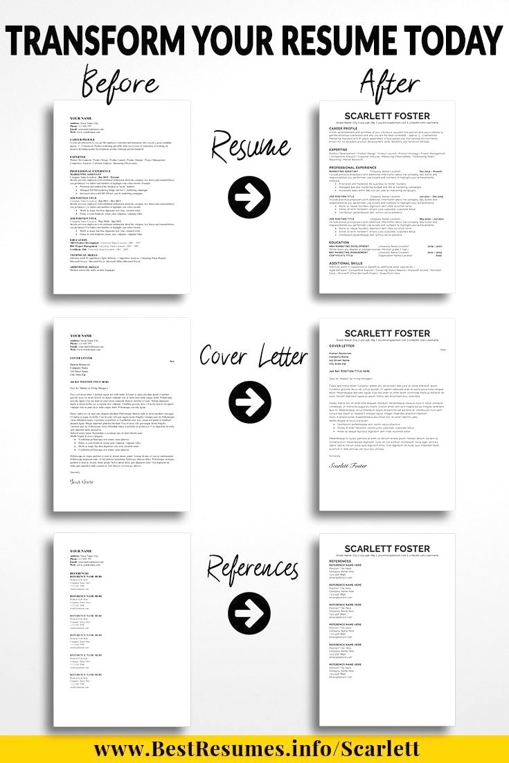 One Page Resume Template Scarlett Foster Professional Resume Template And Modern Res Business Resume Template Cover Letter For Resume Teacher Resume Template