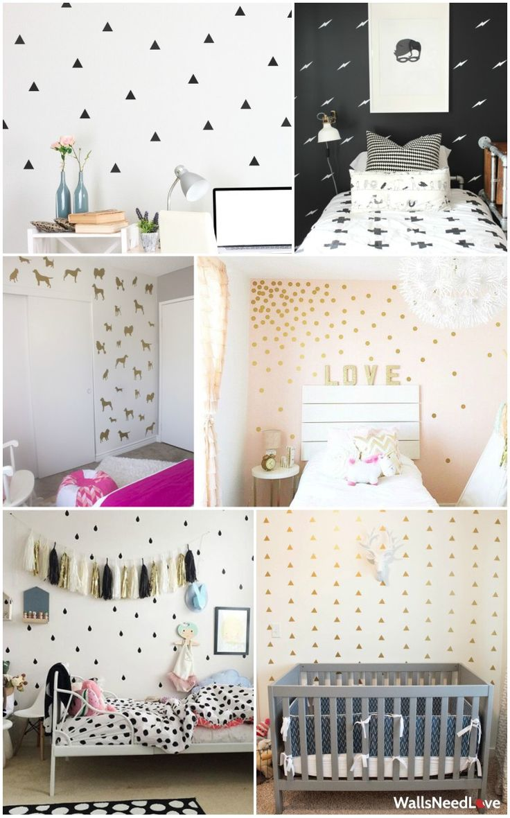 Up the style factor of your room with fresh, stylish (and did we mention removable?) wall decals. These mini decals are easy to apply and pack a huge design punch. Find these and more love for your walls at wallsneedlove.com. #stickwithlove