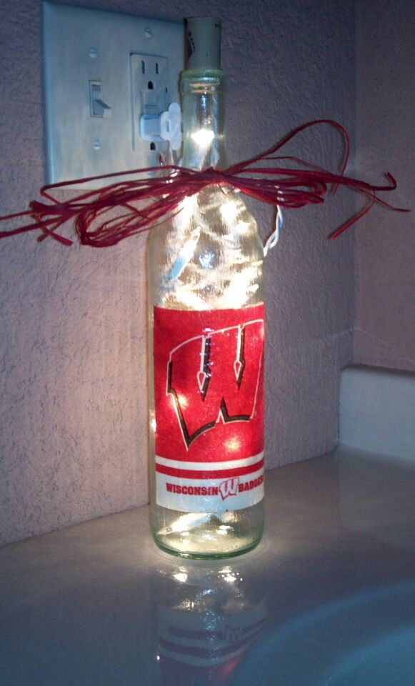 Lighted Wisconsin Badger bottle.