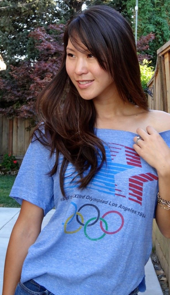 Gap Throwback 1984 Los Angeles Olympics Tee tutorial - how to girlify a tshirt