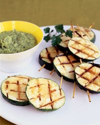 Grilled Zucchini Kebabs with Zucchini Dip - zucchini, olive oil, garlic, fresh parsley, pepper, onion, fresh basil, lemon juice