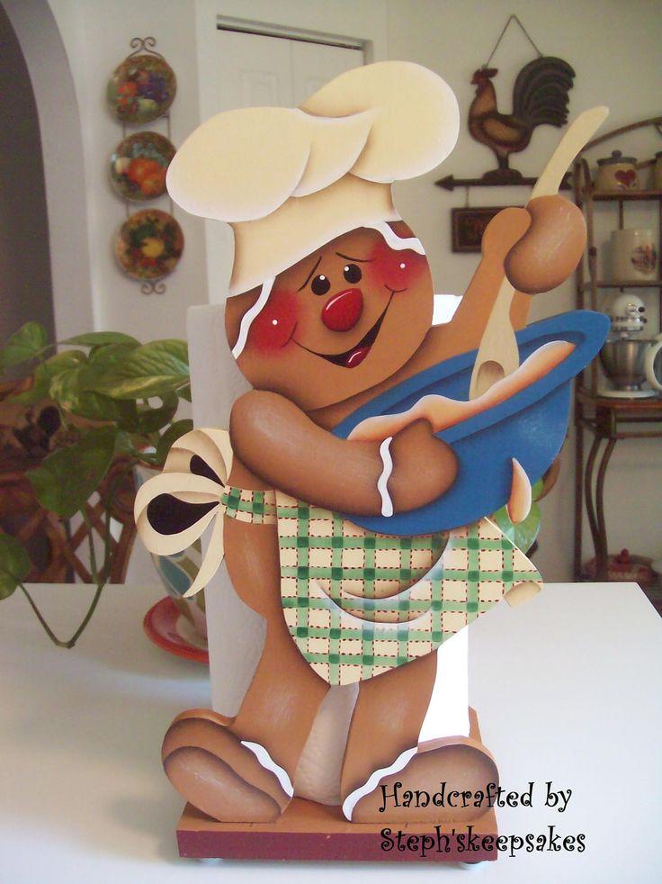 Handpainted Gingerbread Chef Paper Towel Holder ❤❦♪♫